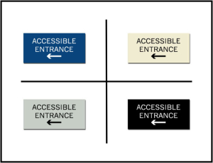 Accessible Entrance w/ Left Arrow ADA/Braille Sign