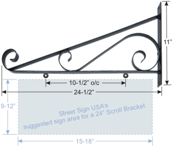 "© Street Sign USA 24"" Scroll Bracket For Hanging Signs Data Spec"
