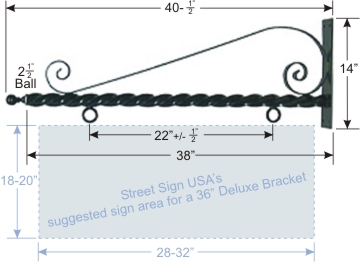 "© Street Sign USA 41"" Decorative Twisted Scroll Bracket For Hanging Signs Data Spec"