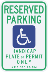Arizona State Specified Disabled Parking Sign