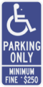 California State Specified Disabled Parking Only Sign