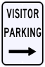 Visitor Parking Only Sign with Right Arrow