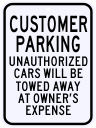 Customer Parking Violation Sign 18 x 24