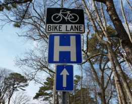 Bike Lane & Hospital Guide Signs With Directional Arrow