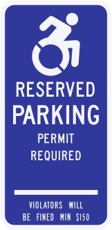 Connecticut State Specified Disabled Parking Sign