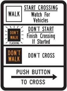 Pedestrian Traffic Signal Sign Walk/Don't Walk
