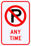 No Parking Any Time Sign with Symbol