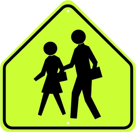 School Advanced Warning/Crossing Symbol Sign - Fluorescent Yellow Green