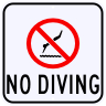 No Diving with No Diving Symbol Sign