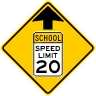 Reduced School Speed Limit Ahead Sign