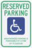 Tennessee State Specified Disabled Parking Sign