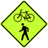 Bicycle/Pedestrian Crossing Symbol Sign - Fluorescent Yellow Green