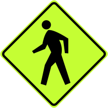 Pedestrian Crossing Ahead Symbol Sign - Fluorescent Yellow Green