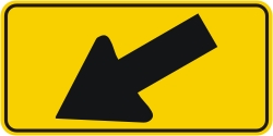 Directional Down Arrow Left Warning Sign