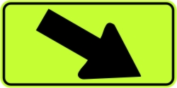Directional Down Arrow Right Warning Sign - Fluorescent Yellow Green