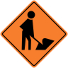 Men Working Symbol Construction Sign