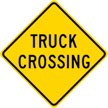 Truck Crossing Warning Sign