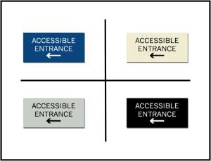Accessible Entrance w/ Left Arrow ADA/Braille Sign
