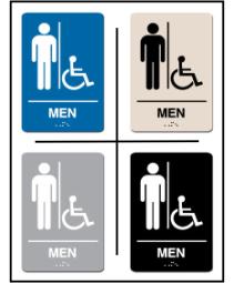 Men's Restroom w/ Wheel Chair Symbol ADA/Braille Sign