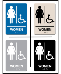 Women's Restroom w/ Wheel Chair Symbol ADA/Braille Sign