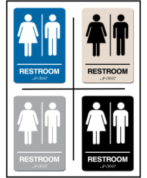 Men - Women Unisex Restroom ADA/Braille Sign