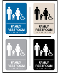 Family Restroom w/ Wheel Chair Symbol ADA/Braille Sign