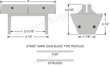 © Street Sign USA Heavy Duty Wooden Post Bracket For Street Name Signs Data Spec