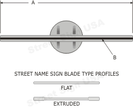 "© Street Sign USA Heavy Duty 2-3/8"" Pipe Post Bracket For Street Name Signs 12"" Data Spec"