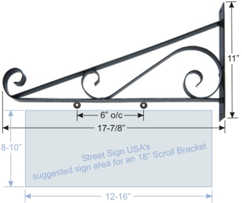 "© Street Sign USA 18"" Scroll Bracket For Hanging Signs Data Spec"
