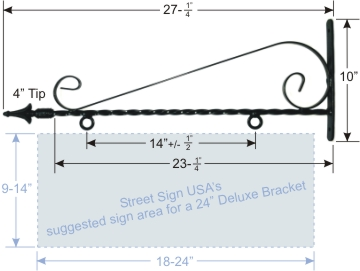 "© Street Sign USA 27"" Decorative Twisted Scroll Bracket For Hanging Signs Data Spec"