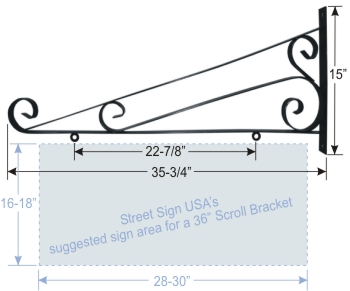 "© Street Sign USA 36"" Scroll Bracket For Hanging Signs Data Spec"