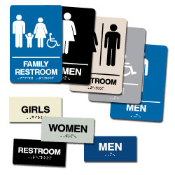 Street Sign USA Braille Restroom Sign Assortment