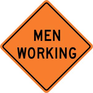 Men Working Construction Sign
