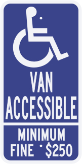 California State Specified Van Accessible Disabled Parking Sign