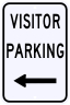Visitor Parking Only Sign with Left Arrow