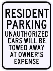 Resident Parking Violation Sign 18 x 24