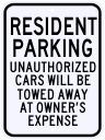 Resident Parking Violation Sign 18 x 24