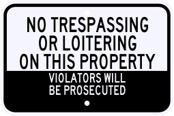 No Trespassing Or Loitering Violation Sign
