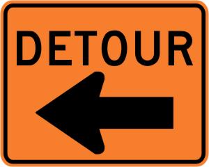 Detour with Left Arrow Construction Sign