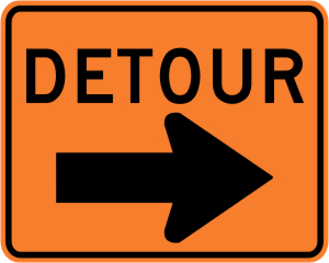 Detour with Right Arrow Construction Sign