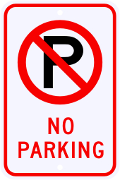 No Parking Sign with No Parking Symbol