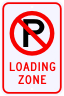 No Parking Loading Zone Sign with Symbol