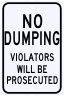 No Dumping Violation Warning Sign