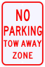 No Parking Tow Away Zone Sign
