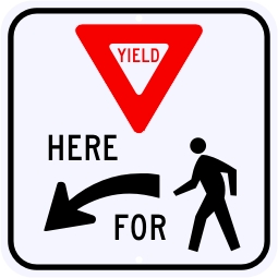 Yield Here For Pedestrians Symbol Sign, Left