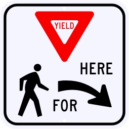 Yield Here For Pedestrians Symbol Sign, Right
