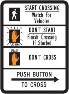 Pedestrian Traffic Signal Symbol Sign
