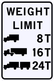 Bridge Weight Limits Sign - Customizable