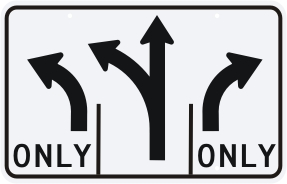 Advance Intersection 3 Lane Control Sign Middle Lane Optional