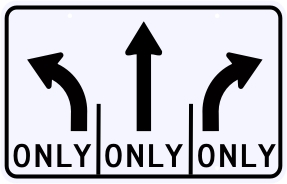 Advance Intersection 3 Lane Control Sign